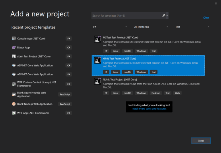 Create a new F# Unit Test Project