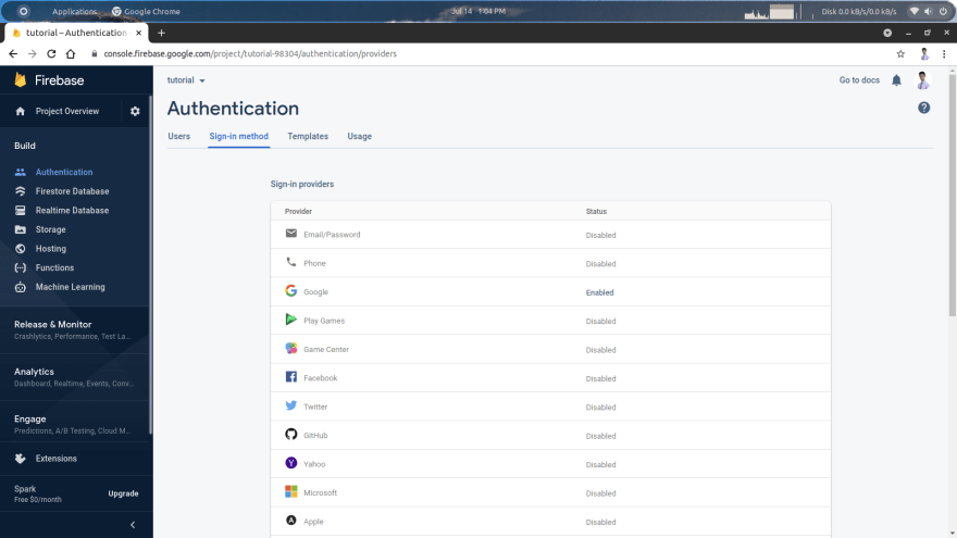 firebase sign in providers