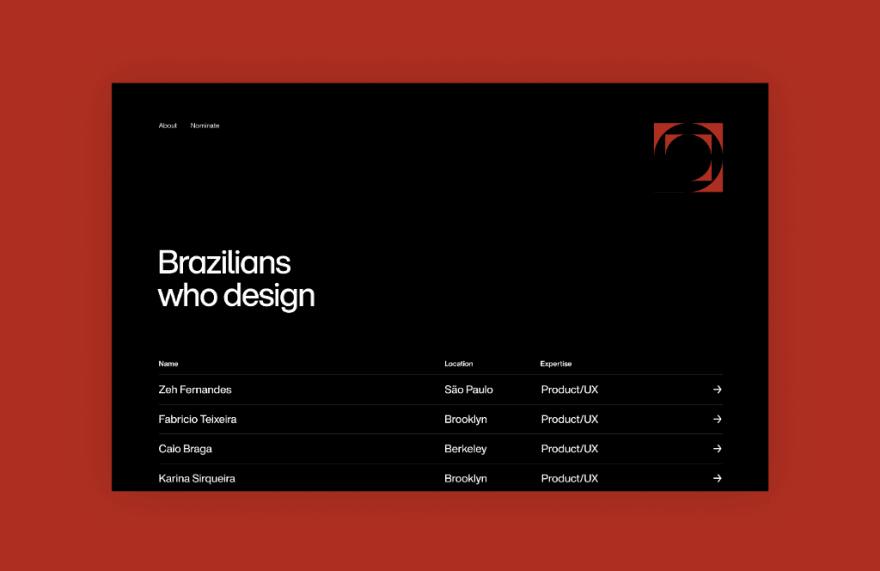 Screenshot of the Brazilians Who Design website