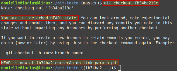 usando o checkout para ver um determinado commit