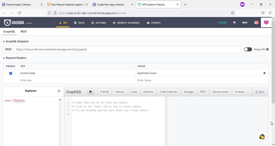 Hasura web page console on Firefox 92