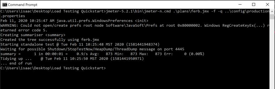 JMeter CLI test results
