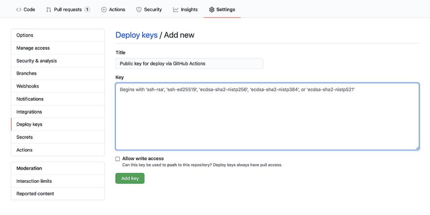 The public key goes to Settings - Deploy keys.