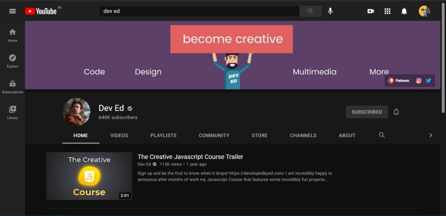 Dev Ed's Channel Page on YouTube