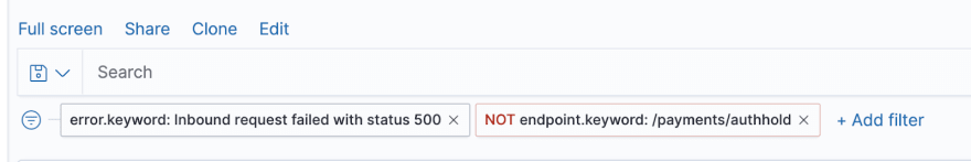 filters after excluding payments/authhold