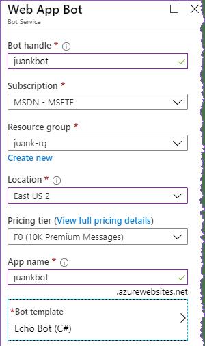 configuración básica del servicio de Bot