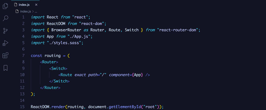 React code snippet with the August - Dawbridge theme