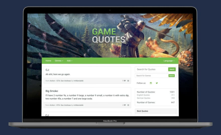 old Game Quotes website