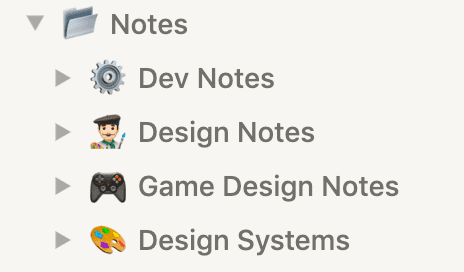 Screenshot of Notion sidebar with Notes page and nested pages