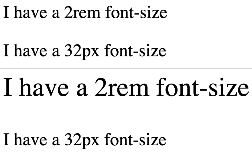 Image with two sentences comparing text in 2rem and 32px