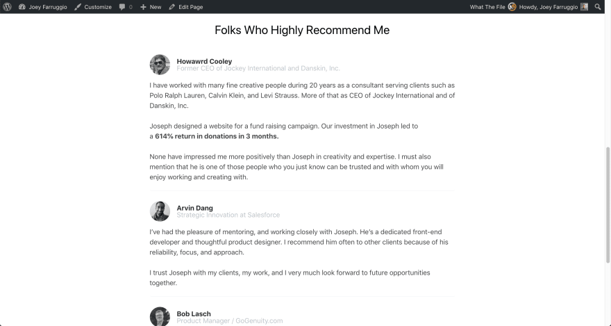 A list of testimonials on the front end