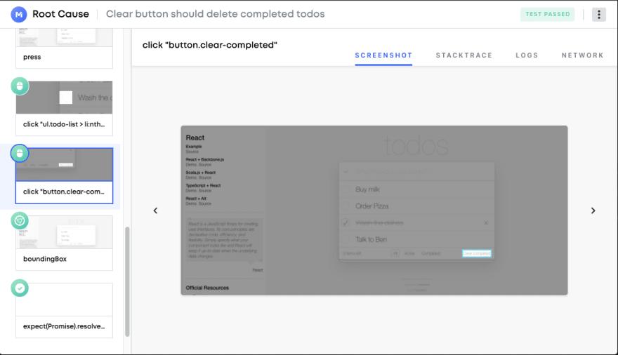 Root Cause viewer screenshot