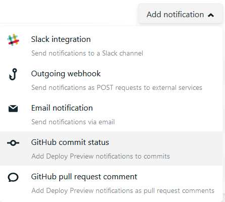 Menu for notification optins