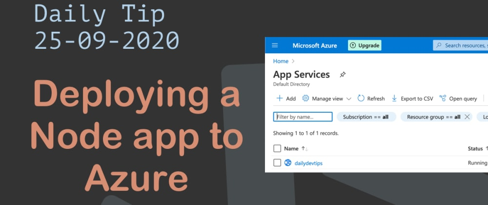 Cover image for Deploying a Node app to Azure