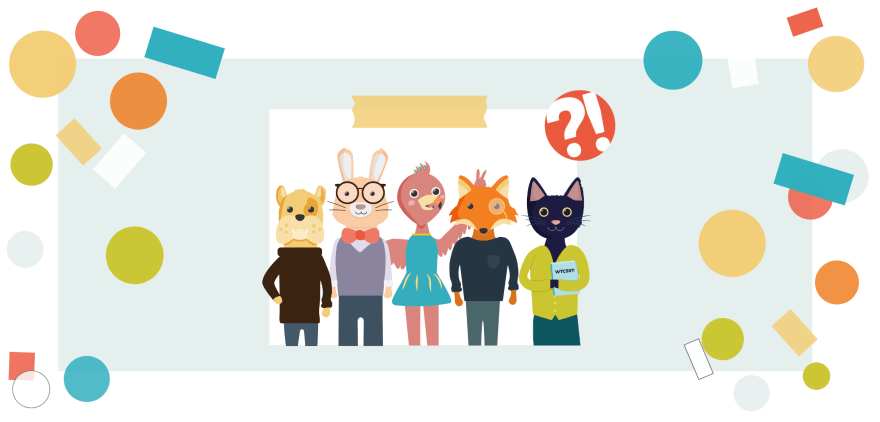 'Portrait of mascots (a flamingo, a bulldog, a black cat, a fox and a bunny) wearing clothing and the What the CSS?! logo (a circle with a question mark and an exclamation point)'