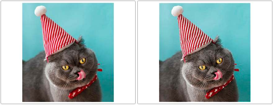 Sharpening an image of a cat in a hat