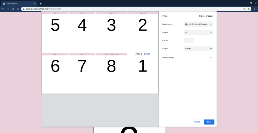 A basic grid layout for 8 pages
