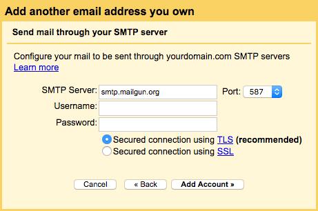 Gmail's SMTP info popup