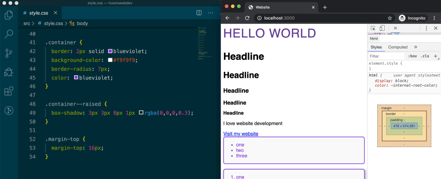 split screen with VSCode open to style.css and browser on localhost:3000