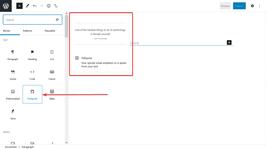There are tooltips with detailed descriptions and intuitive examples to show users how to use a block type.