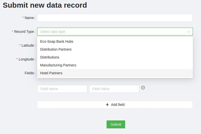 Screenshot of new data record form