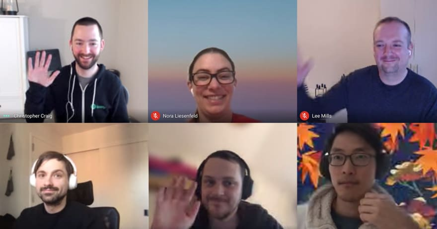 6 Spotify employees waving on a zoom call