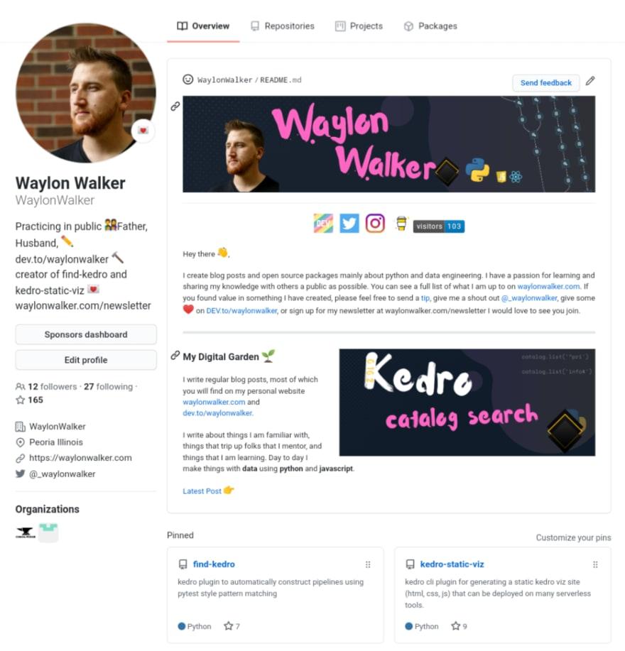 waylonwalker GitHub profile