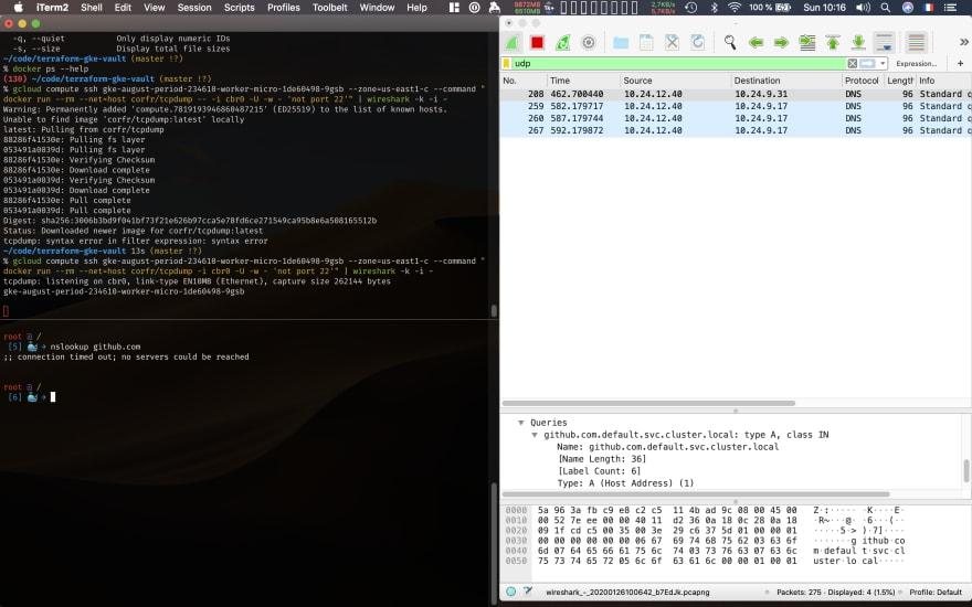 Wireshark running on interface cbr0 on node 2