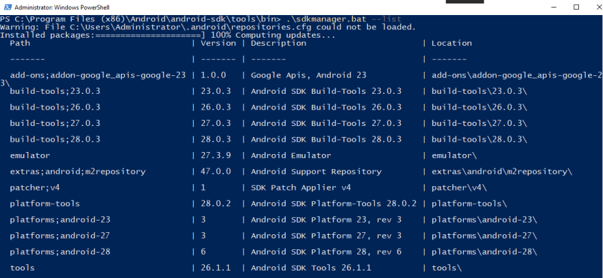 Update the Android SDK for a Visual Studio Build Tools installation