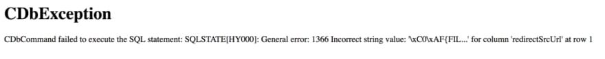 Craft Cdbexception Error