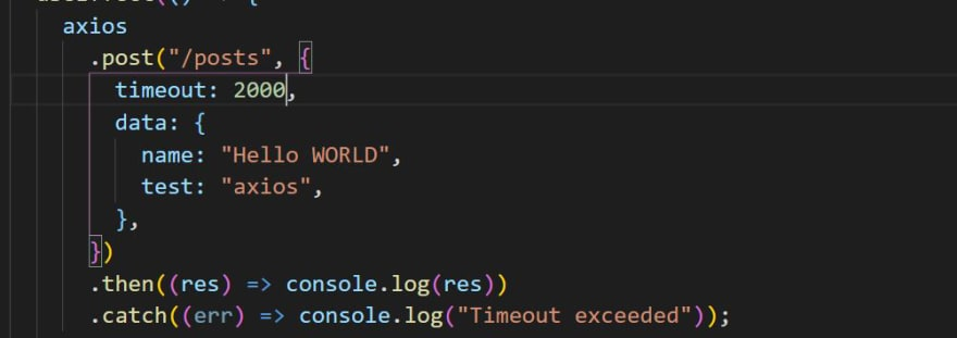 Axios timeout code
