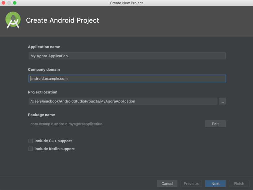 Android Studio: Create Project Screen