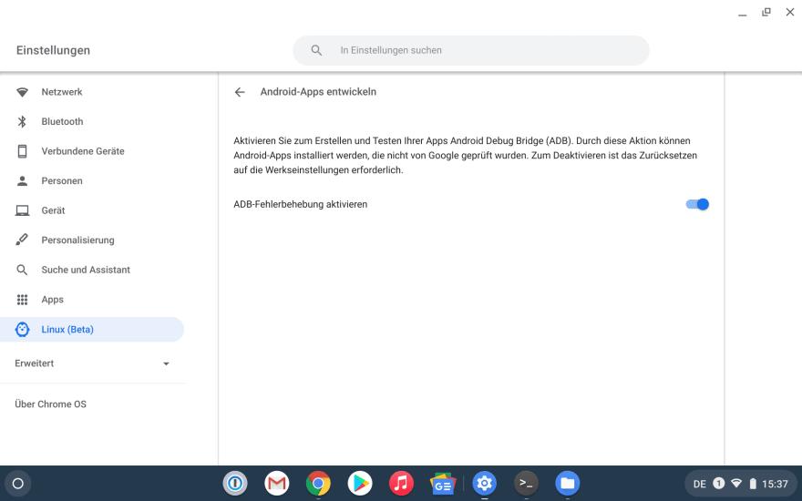 Enable Linux Beta and ADB Debugging