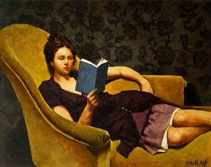 woman reading painter