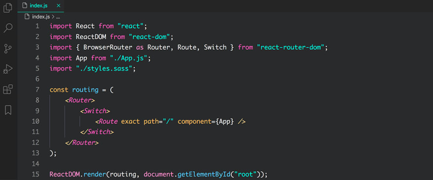 React code snippet with the Panda Syntax theme
