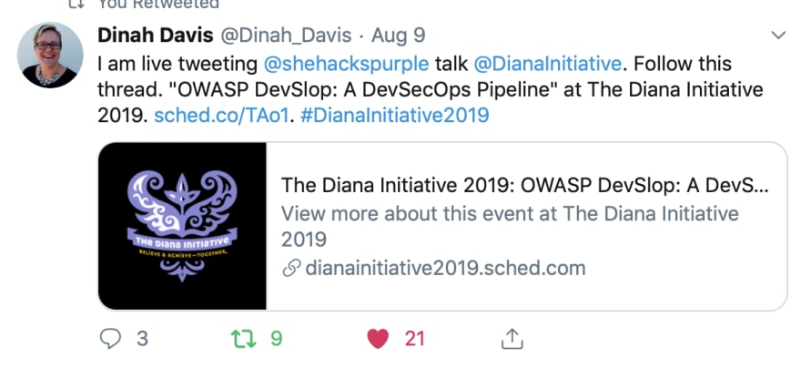 "Dina Davis, of ""Code Like a Girl"", live tweeted my talk, which was very flattering. :-D"