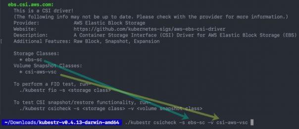 kubestr csicheck -s storageclass -v volumestorageclass