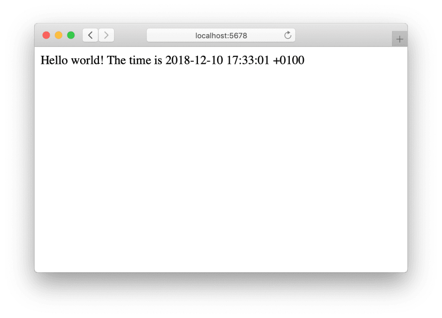 "Our minimal Ruby HTTP server returning our ""Hello world""-line"