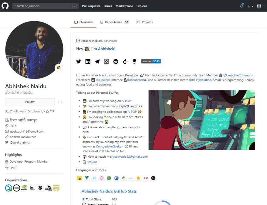 GitHub Profile Screenshot of Abhishek Naidu