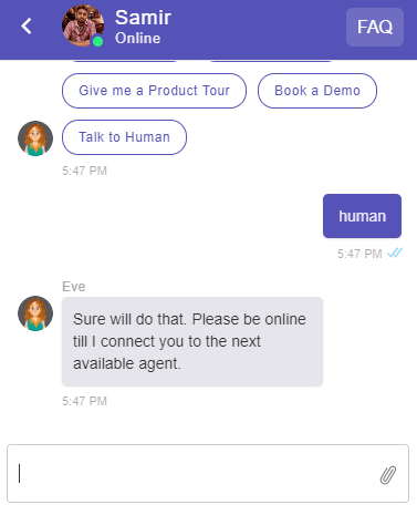 Example of user handoff by typing human