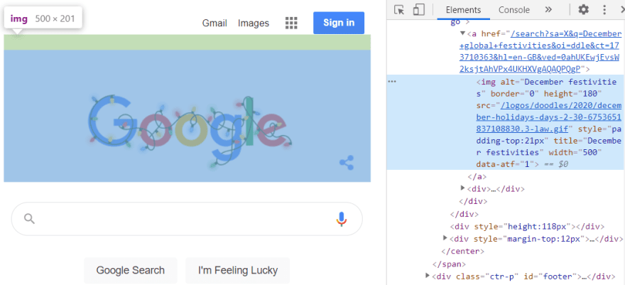 The Google logo img element inspected in Chrome devtools Elements tab