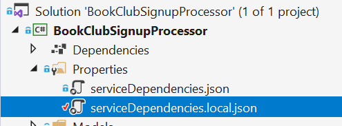 Function App Solution Service Dependencies Local JSON