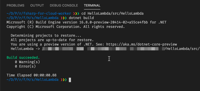 Run dotnet build in the project directory