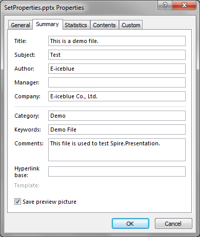 Set document properties