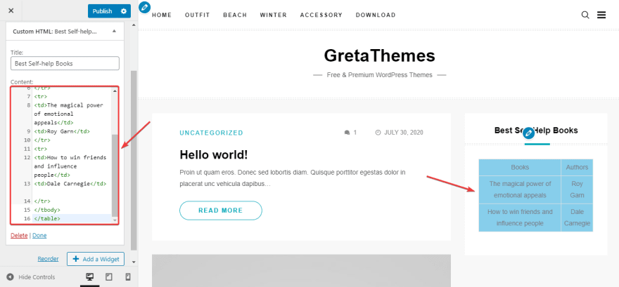 Add Custom HTML widget to the sidebar