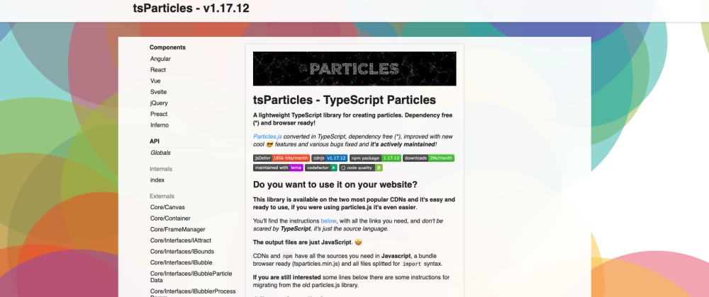 Cover image for tsParticles Documentation Website
