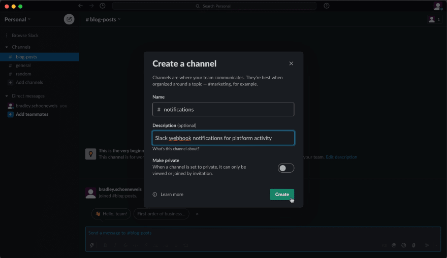 Creating a Slack channel