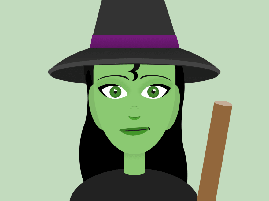A smiling witch with green skin with a pointy hat holding a broom
