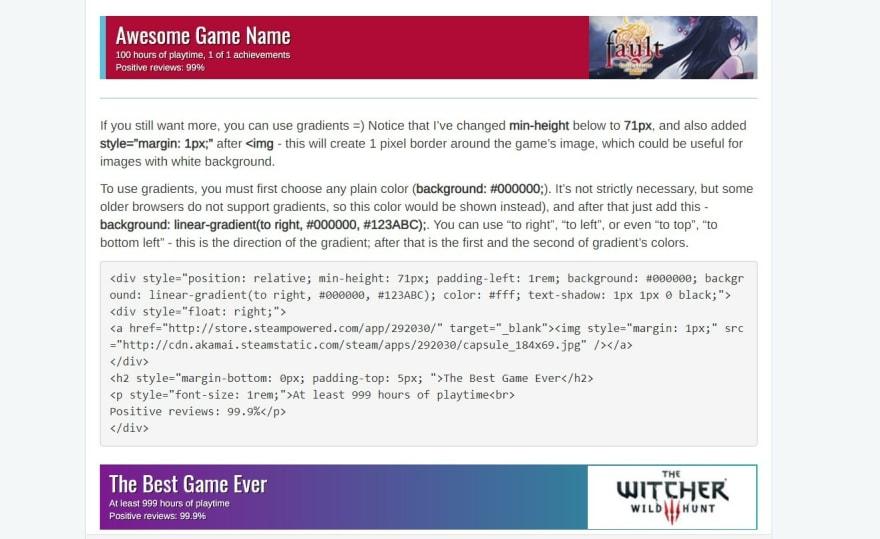 Gaming community templates screenshot