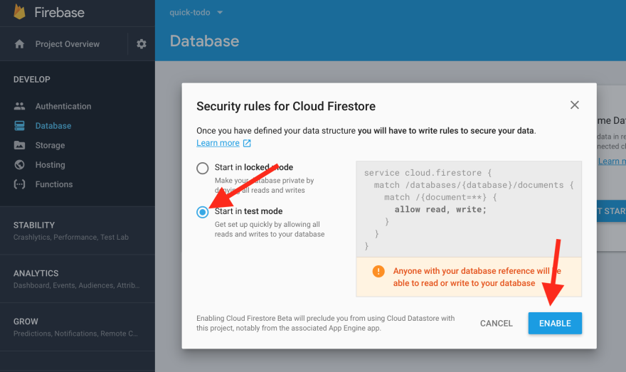 Provision Cloud Firestore Database Step 3